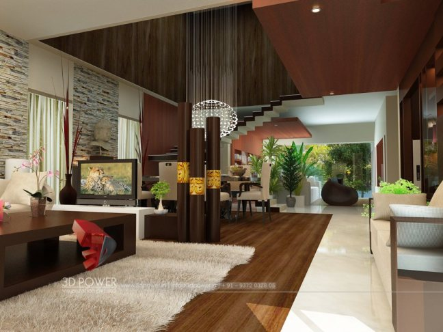 3d interior design services india Bungalow living room design